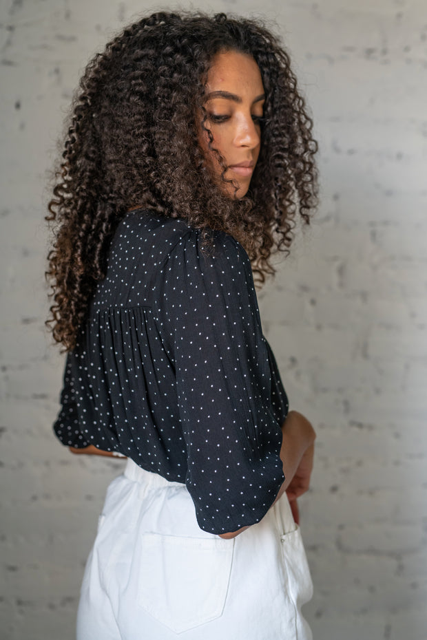 Familiar Feeling Polka Dot Top Black