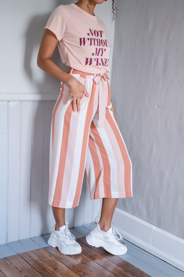 Striped And Ready Cropped Pants Peach