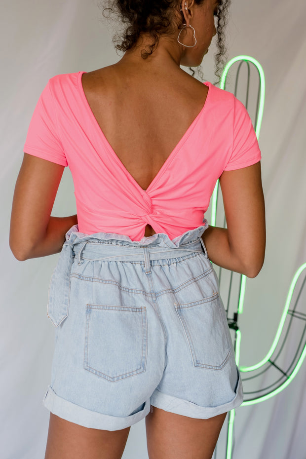 Hit Twist Open Back Top Pink