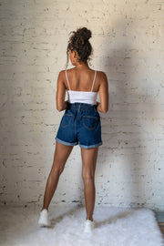 Fantastic Elastic High Waist Denim Shorts Dark