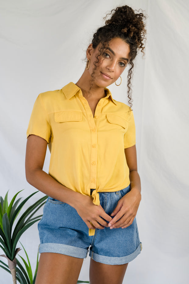 Best Of Myself Tied Top Mustard
