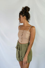 Missed Calls Striped Crop Top Taupe