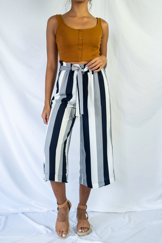 Striped And Ready Cropped Pants Navy