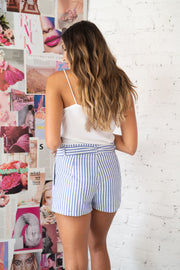 Summer Ease Striped Shorts Blue