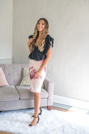 For The Frills Tie Dye Midi Skirt Wine