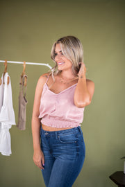 Trim and Proper Satin Tank Top Blush