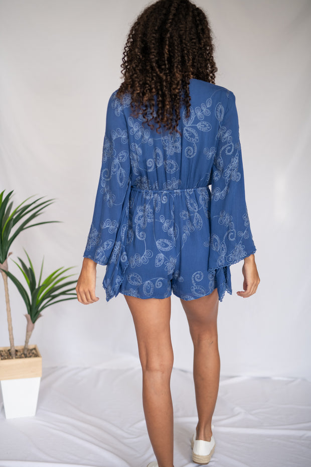 Driving Miss Paisley Romper Navy