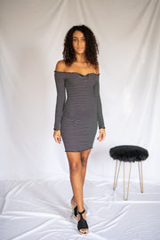No Lies Bodycon Striped Dress Black