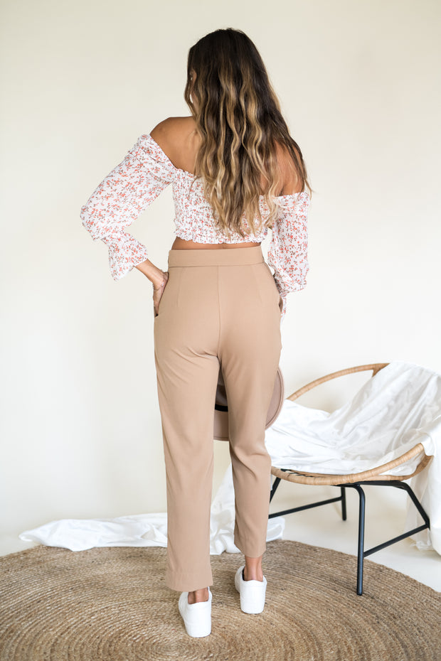 Back in Timeless Belted Pants Camel
