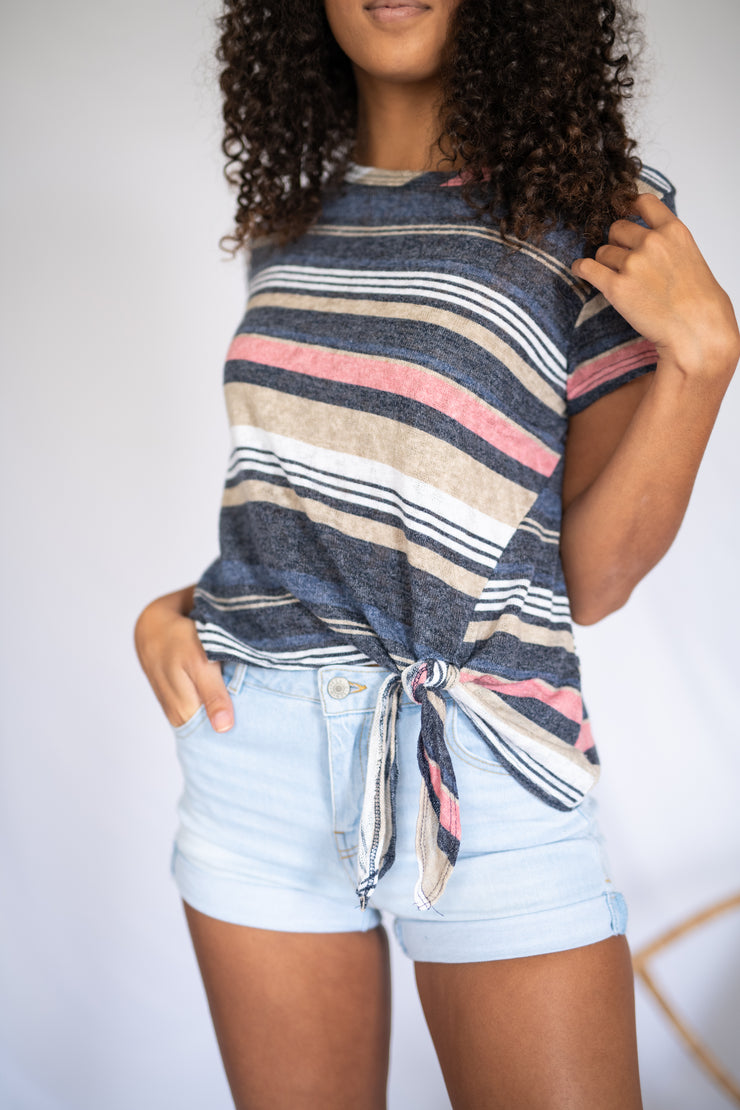 All Tied Up Striped Top Navy