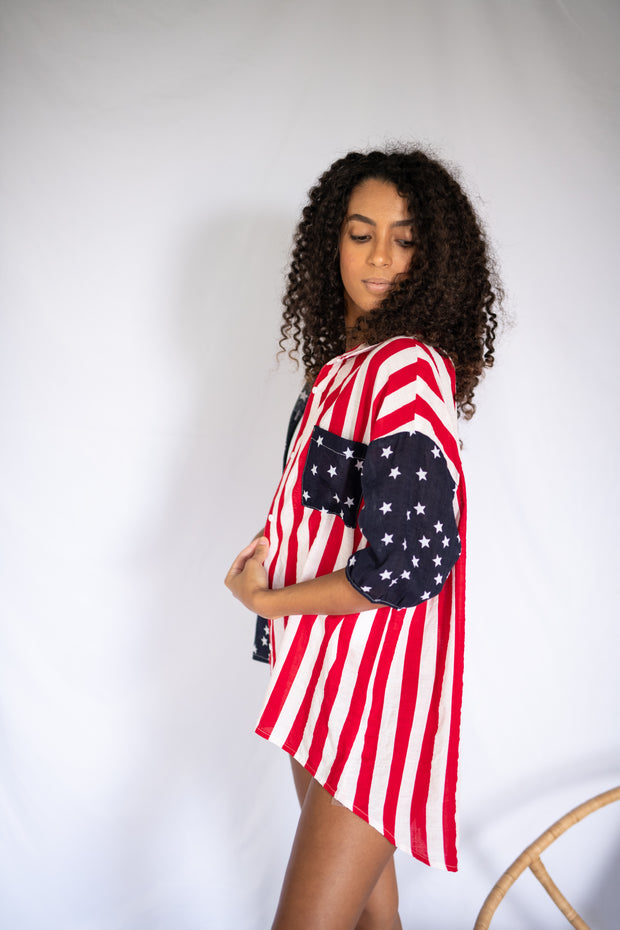 Stars and Stripes Button Up Top