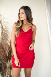 Dramatic Depths Cowl Neck Dress Red