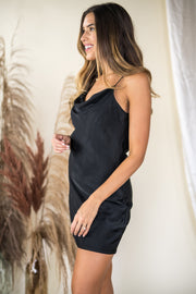 Dramatic Depths Cowl Neck Dress Black