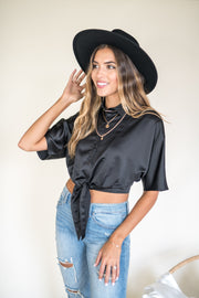Wisely Tied Button Up Top Black