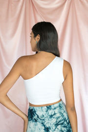 Sunny Day One Shoulder Crop Top White