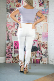 Clara Distressed High Rise Jeans White