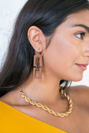 Wooden Square Chain Earrings