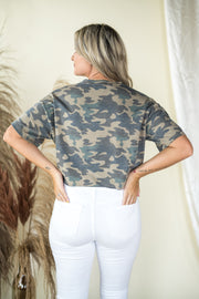 Hidden Away Camo Tied Crop Top