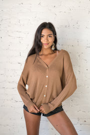 Let It Be Known Button Down Cardigan Camel