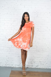 Running Away Tie Dye Dress Orange