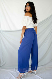 Keep Listening Wide Leg Pants Blue