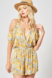 Lighter Than Air Floral Romper Mustard