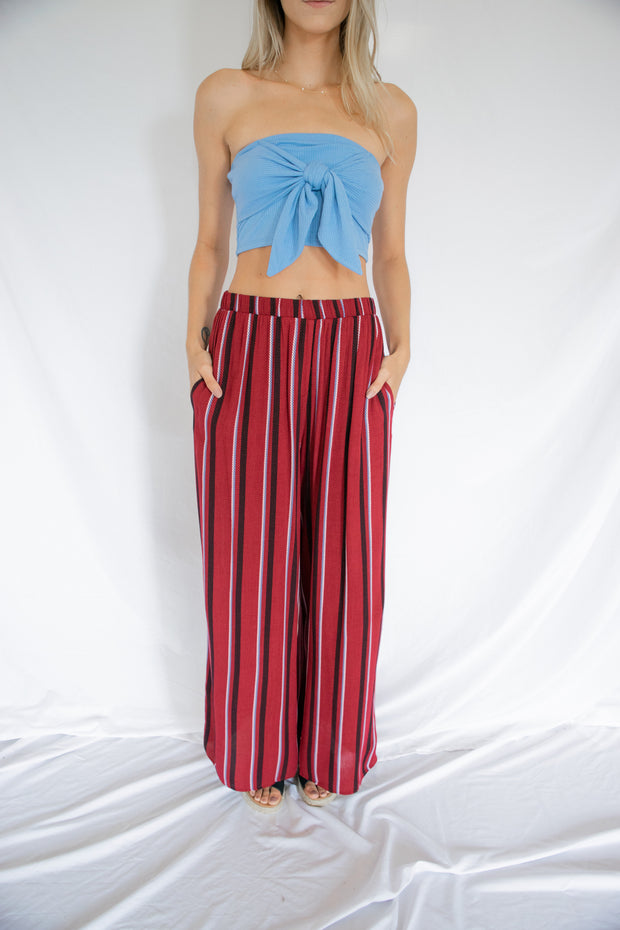 Getting Over You Striped Pants Burgundy