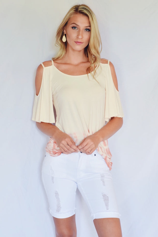 Tie Dye And Demand Cold Shoulder Top Peach