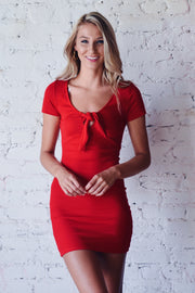 Dress Relief Ribbed Dress Red