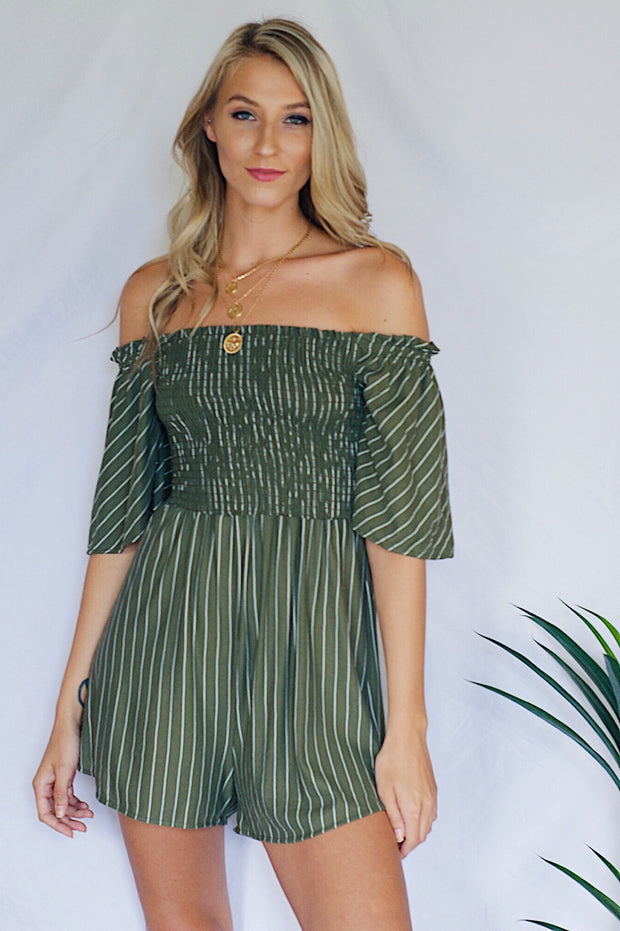 Turn You Down Striped Romper Olive