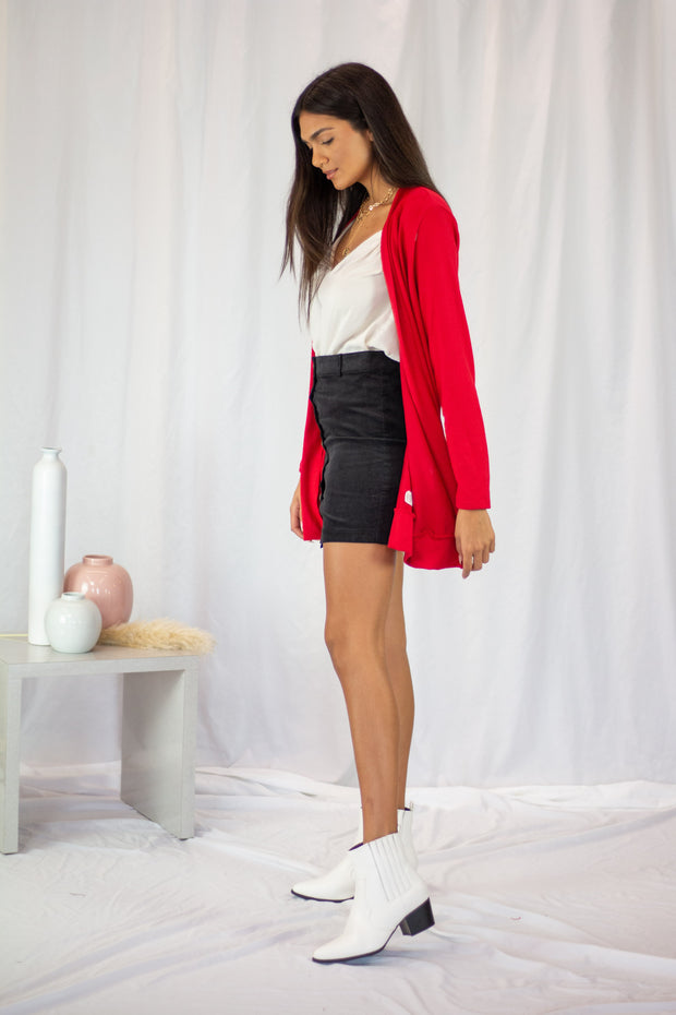 Keep You Warm Open Cardigan Red