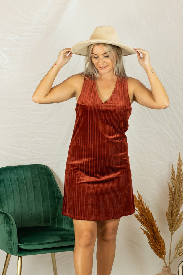 Velvet Like It Is Dress Rust
