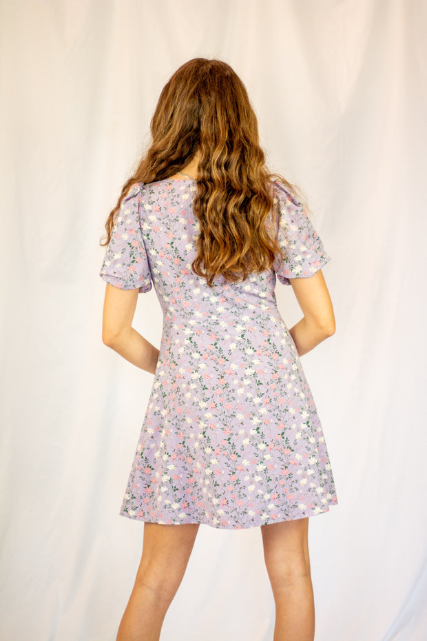 Catie Floral Mini Dress Lavender