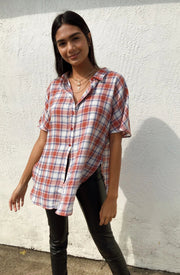 Feeling Plaid Oversized Top Red