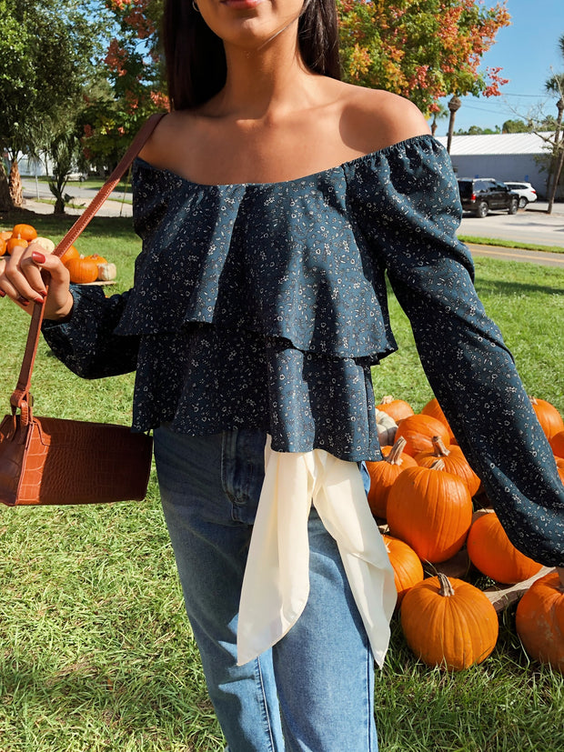 Finely Floral Off The Shoulder Top Teal