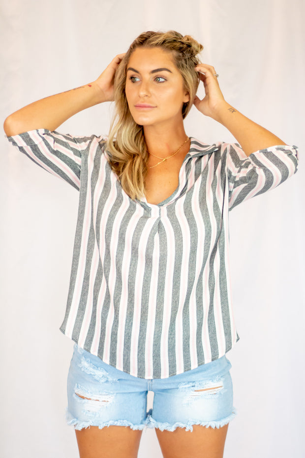 Nothing To Do Striped Top Grey