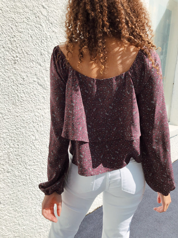 Finely Floral Off The Shoulder Top Plum