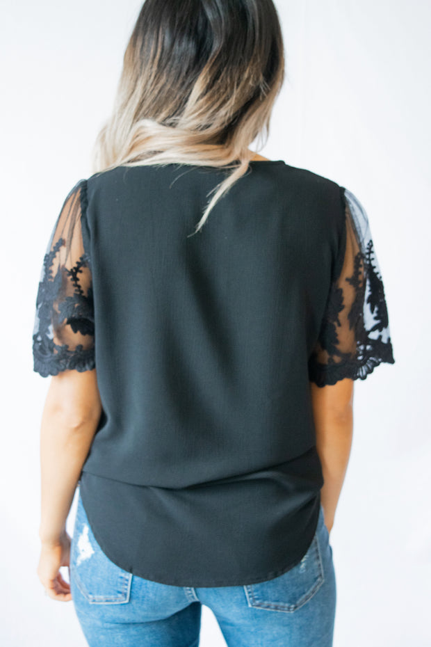 Just Imagine Lace Sleeved Top Black