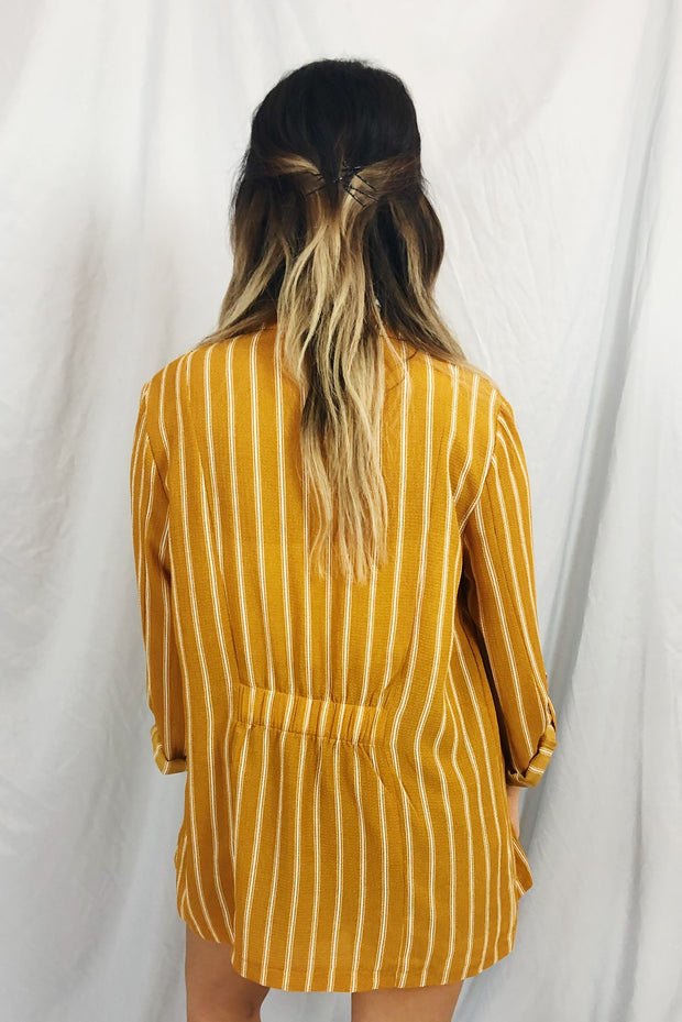 Read It And Steep Striped Blazer Mustard