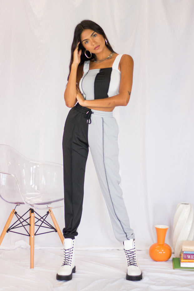 Kate Color Block Joggers Black