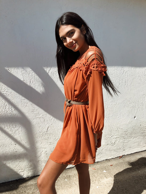 Strappy Ending Dress Rust