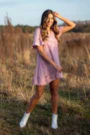 Cut Ties Mini Dress Mauve