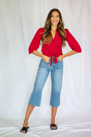 Melanie Button Tie Front Top Red