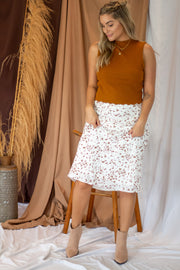 Jessie Speckled Midi Skirt White