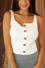 Sunbaked Button Crop Top White
