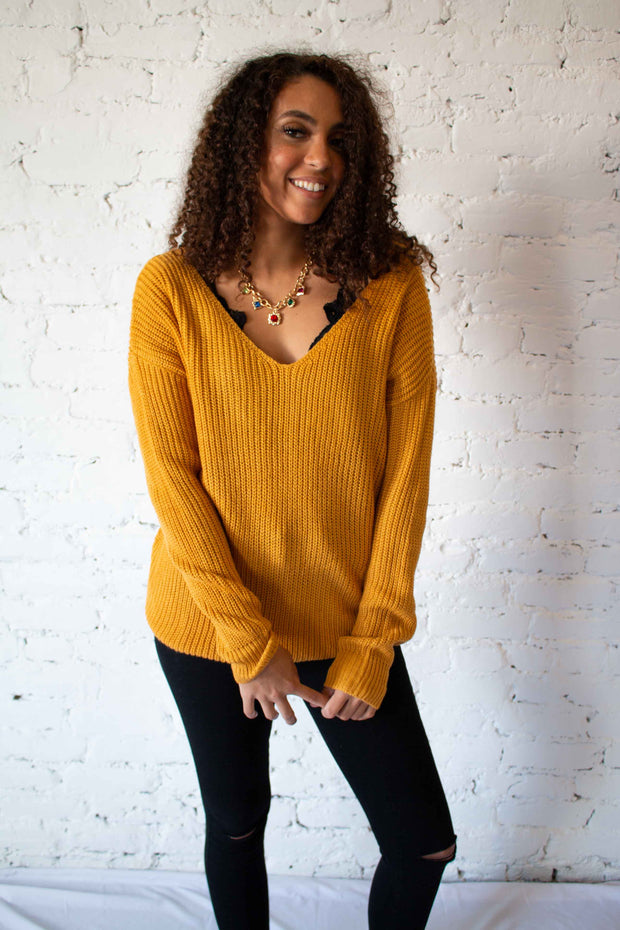 Put A Twist On It Sweater Mustard