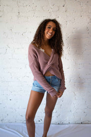 Put A Twist On It Sweater Mauve