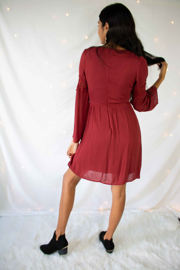 Away Awhile Dress Burgundy