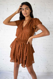 Every Hour Ruffled Dress Camel