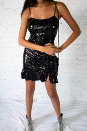 Shine My Way Sequins Dress Black